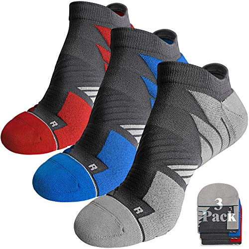 Mens No Show Tab Socks Athletic, Hylaea Running Socks No Blisters, Moisture Wicking, with Coolmax Cushion Padded, ideal for Runner, Sports, Gym, Golf, Low Cut, Gray Blue Red xLarge 3 Pairs