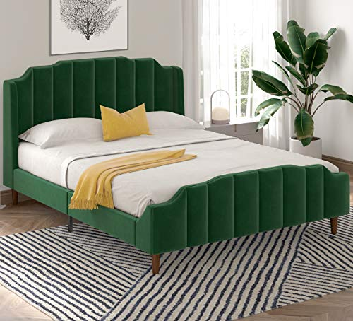 SHA CERLIN Wood Queen Size Bed Frame with Modern Curved Upholstered Wingback Headboard / Heavy Duty Platform Bed with Strong Wood Slat Support / Green