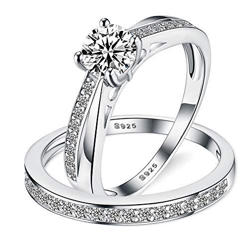 Sreema London 925 Sterling Silver Solitaire Twisted Milgraine Women's Wedding Engagement Promise Ring Set (K)