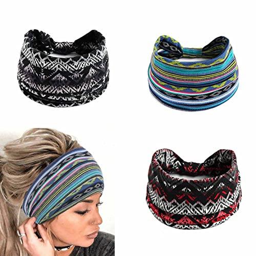 Yean - Fascia larga per capelli con fascia per capelli blu, traspirante, con turbante a turbante, accessorio per donne e ragazze (confezione da 3)