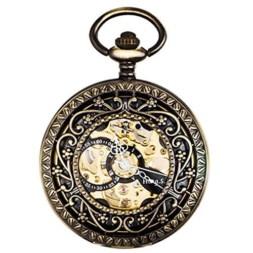 Reloj de Bolsillo Reloj de bolsillo mecánico automático Retro Flip Cover grabado Hollow Pareja Estudiante Colgante Reloj Suéter Cadena Regalo para padre, madre, hijo, collar, reloj ( Color : Brass )