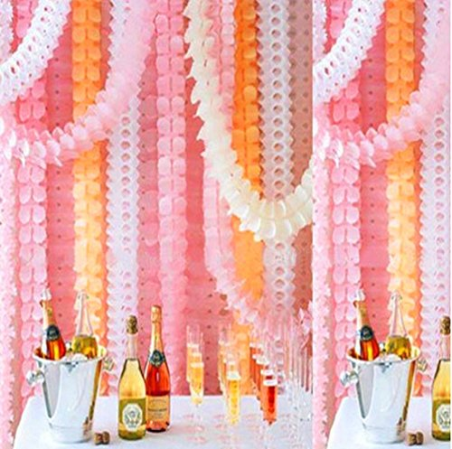 Bekith 10 Pack Reusable Party Streamers Pink & Cream Hanging Garland Four-Leaf Clover Garland Tissue Paper Flowers Garland Wedding Party Decor (11.8Feet/3.6M Long Each)