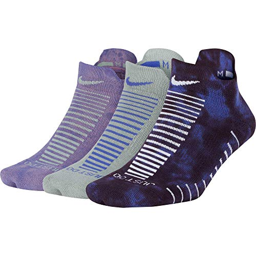 Nike Women`s Everyday Max Cushion Training No Show Socks 3 Pack (Violet(SX7074-919)/Grey, Medium)