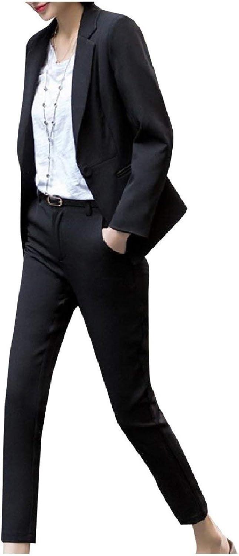 Abetteric Womens Pure color Blazer Wear to Work Pants 2 Pieces Outfits Suit