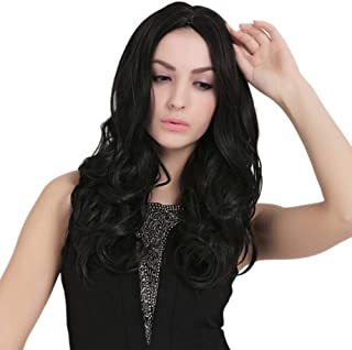 Natural Hairpieces Fashian Synthetic Hair Wig for Women Long Curly Hair Full Wig for Daily Party Wear (Color : Black)