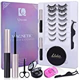 Magnetic Eyelashes and Eyeliner, 8+2 Pairs Magnetic eyelashes with Portable Lashes Storage Case, Eyelash Curler, Tweezers and Scissors, Natural Look - No Glue Needed, Qimeisi