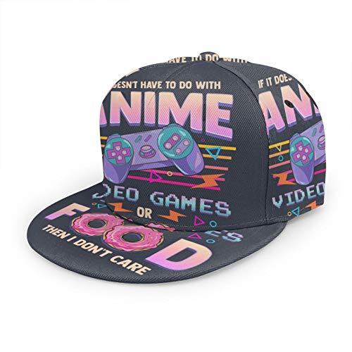 Gorra de béisbol plana 3D si no es anime videojuegos o comida I Don't Care Flat Brim ajustable Snapback gorras casuales sombrero de papá camionero sombreros para hombres y mujeres negro