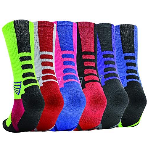 DILIBA Men's Elite Socks Basketball Soccer Hiking Ski Socks Dry Feet Dri Fit Mid Calf Arch Support Breathable Quarter Cozy Big Tall Thick Colorful Crew Socks 6 Pair