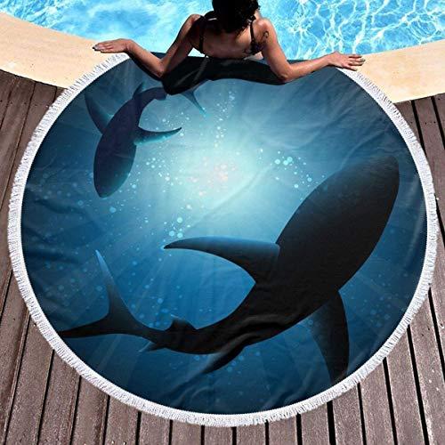 Zhong Shan Toalla de Playa Toalla de Playa Redonda Tapiz de Picnic Tapiz para Colgar en la Pared Manta de Playa Estera de Yoga de meditación Circular (Tiburones bajo el Agua)