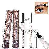 Augenbrauenstift Wasserfest,2 Stück Waterproof Microblading Eyebrow Pen Tattoo Augenbrauenstift mit Tips Wasserfester Langenhaltend für Natürlich Augenbrauen Schminke
