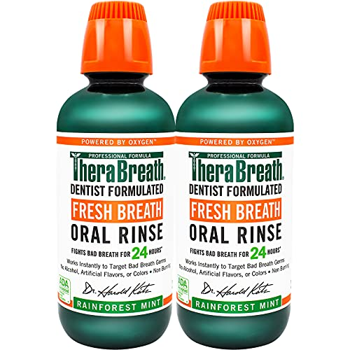 TheraBreath Fresh Breath Dentist Formulated 24-Hour Oral Rinse, Rainforest Mint, 16 Ounce (Pack of 2)