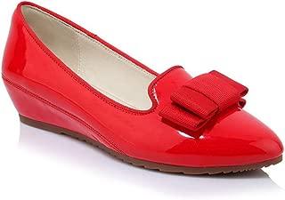 BalaMasa Womens Bows Solid Casual Urethane Pumps Shoes APL10844