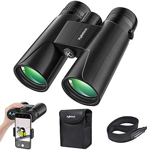 Kylietech Fernglas 12x42 Kompakte Ferngläser für Vogelbeobachtung, Wandern, Jagd, Sightseeing, Kleines Fernglas mit Nachtsicht Funktion FMC Linse, Tragetasche und Smartphone Adapter (Schwarz)