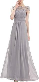 Ever-Pretty Damen Abendkleid A-Linie Spitze Chiffon Rundkragen Kurze Ärmel Hohe Taille 09993