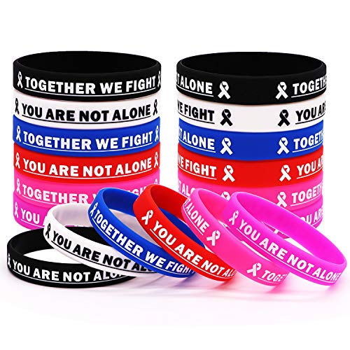 Cancer Awareness Rubber Bracelet Ribbon Silicone Wristband with Saying Together We Fight, You are Not Alone. Gift for Patients, Family and Friends