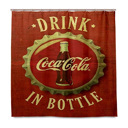 Vintage Logo Coca Cola Shower Curtains for Bathroom 60 x 72 inches with 12 Hooks Accessories Home Decorative Custom Waterproof Bathroom Curtains for Kids Girls Boys