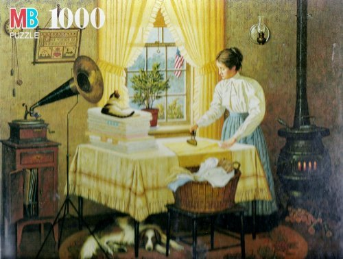 Charles Wysocki Getting Things Ironed Out with Caruso Jigsaw Puzzle (Early American Home with Edison Phonograph)