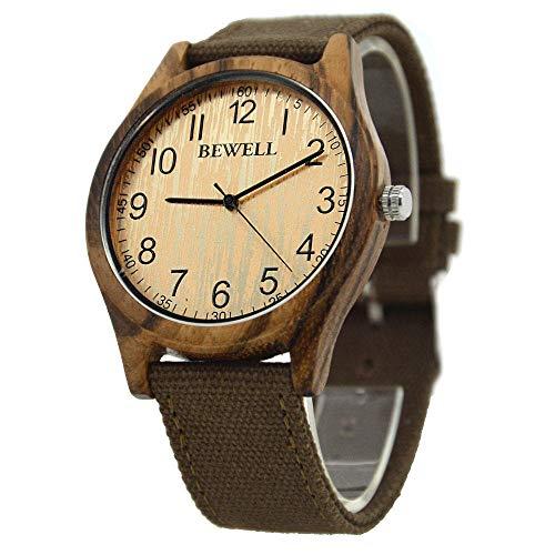 LIGUANGWEN Unisex Zebra Bambusholz Uhrmens Uhr-Spitzenmarken Luxuxfrauen Uhren Canvas-Holzmann-Sport-Uhr (Color : Brown 1)