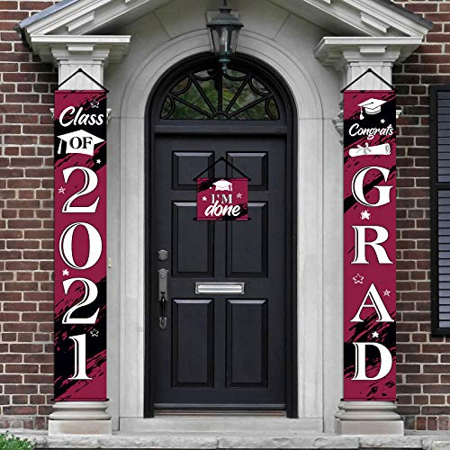 3 Pieces 2021 Graduation Banner Decorations, Class of 2021 Congrats Grad Porch Sign Hanging Banner Door Sign Welcome Decor Photo Props for College, High School Graduation Party Decorations (Wine Red)