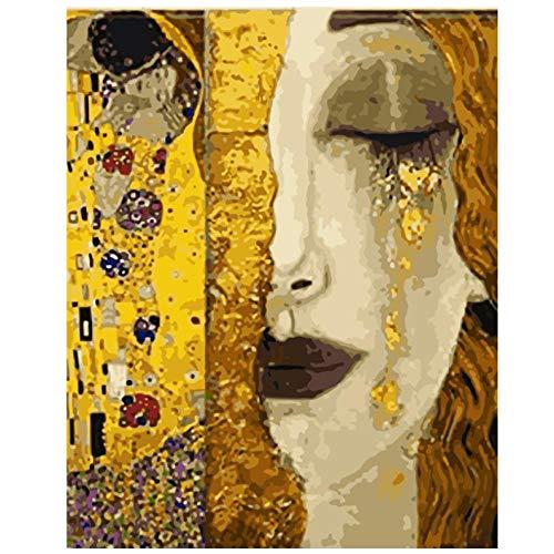 NR Raumkunstwerk Druck auf Leinwand Gemälde Goldene Schönheit in Trauer Figur Leinwand Dekoration Bild (50x70cm ohne Rahmen)
