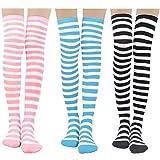 Damen Kniestrümpfe - Overknee Strümpfe Streifen Lange Socken Retro Knitting Strümpfe Mädchen Cheerleader Sportsocken Baumwollstrümpfe (Blau-Rosa-Schwarz fein)