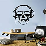 Tianpengyuanshuai Juego de Dibujos Animados Auriculares Etiqueta de la Pared Dormitorio Gamer cráneo música Auriculares Pared calcomanía Vinilo 54X50 cm