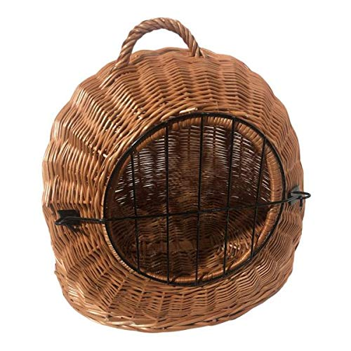 Rattan im Trend Katzenkorb aus Weide braun abnehmbares Metall-Gitter Transportkorb Transportbox Katzen Hunde | Katzenhöhle Käfig