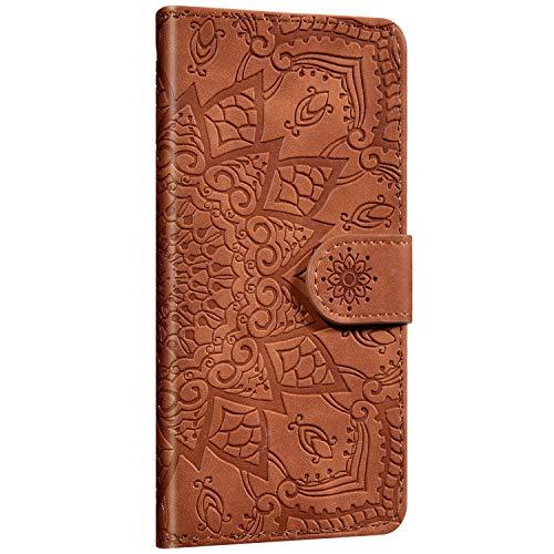 Saceebe Compatible avec Huawei P Smart 2019 Coque Pochette Portefeuille en Cuir Coque Fleur Mandala Motif Etui Rabat avec Fonction Stand Housse Flip Case Cover Coque de Protection,Marron