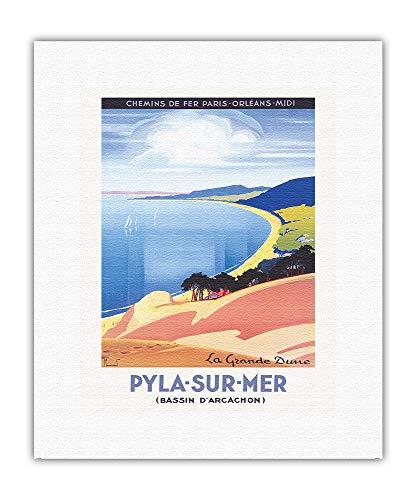 Pyla-sur-Mer, Frankrike - Arcachon Bay - Grand Dune of Pilat - Vintage järnväg reseaffisch av Pierre Commarmond c.1935 - Konstvalsat duktryck 28 cm x 35 cm