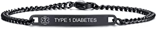 Free Engraving 4MM/7MM Black Stainless Steel Medical Alert ID O-Link Chain Bracelet for Men Women,8.8