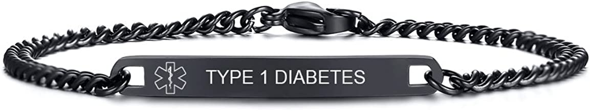 VNOX Free Engraving 4MM/7MM Black Stainless Steel Medical Alert ID O-Link Chain Bracelet for Men Women,8.8