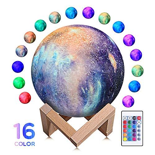 Lámpara de luna de 7.1 pulgadas Luz de luna Noche de niños LED Lámpara de luna Star Galaxy con soporte Festival de Navidad Decoración del hogar Regalos de fiesta de acción de gracias para amantes