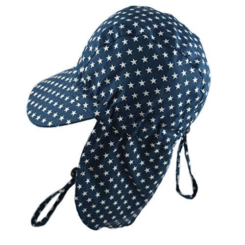 Pesci Bonnet de baseball pour bébé garçon avec rabat de protection du cou et sangle de menton réglable étoiles 0-2 ans - Bleu - 0-24 mois
