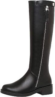 Bottes Femme Escarpins Noir Bout Rond Talon Carre Bottines Cuir Chaussures Talons Compense Ankle Boots Sexy