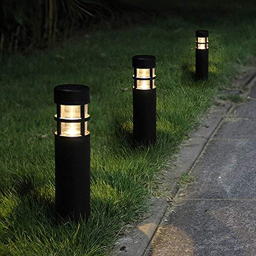 Solar Garden Lights Outdoor - SUNWIND LED Bollard Solar Powered Path Lighting for Patio Pathway Backyard Lawn Landscaping (Black-6 Pack)