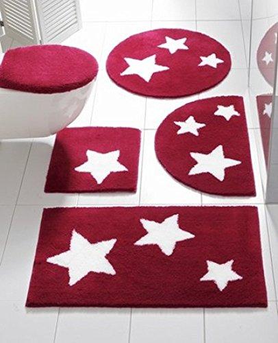 tappetino da bagno con stella in rosso scuro, misura 1: 45x 50cm