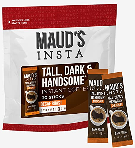 Maud's Instant Decaf Dark Roast Coffee (Insta Decaf Tall Dark & Handsome), 30ct. Solar Energy Produced Single Serve Dark Roast Decaf Instant Coffee Travel Packs, 100% Arabica Coffee California Roasted