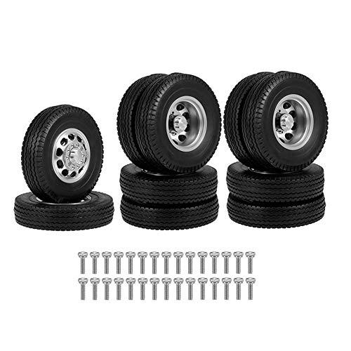 Funcional Trasera de Goma de Plataforma rebajada Ruedas Cubierta neumático con Llantas de Aluminio CNC 1/14 RC Tractor Remolque del camión Resistencia (Color : Black)