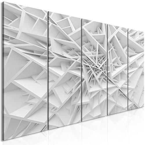 murando Quadro acustico 3D Effetto 225x90 cm XXL 5 pezzi Quadri Moderni su Tela non Tessuta Stampa Protezione dai Rumori Isolamento Acustico Fonoassorbente Grigio bianco a-B-0039-b-m