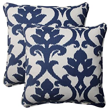 Pillow Perfect Indoor/Outdoor Bosco Corded Throw Pillow, 18.5-Inch, Navy, Set of 2