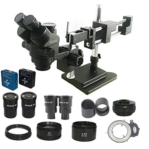 PENFU Microscope 3.5X-180X Double Boom Simul Focal trinocular Stereo Microscope 34MP HDMI USB Digital Camera Industrial PCB Jewelry Repair Tool (Color : Black Microscope, Magnification : 3.5X 180X)