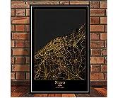 DLTYXME Póster Decoración Mapa Cartel Imprimir Viaje Pintura Arte Pared Imagen Sala de Estar decoración del hogar50x70cm (20x28 Inch)