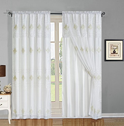 Elegant Home Beautiful Window Embroidery Curtain Drapes All-in-One Set with Attached Valance & Sheer Backing for Living Room, Bedroom, Dining Room, and Sliding Doors - EHMAG (White)