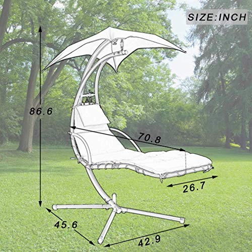 Hammock Chair Hanging Chair Lounge Chairs Outdoor Porch Swing Arc Stand with Canopy Umbrella and Pillow, 280 LBS Capacity, Heavy Duty Large Air Floating Chaise Chair for Patio Backyard Deck Garden