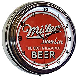 Miller High Life The Best Milwaukee Beer 16 White Neon Clock Man Cave Decor