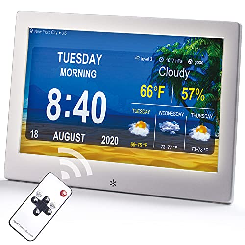 Digital Calendar Alarm Clock for Elderly, 10 Inch Large Screen Display, 9 Modes of Day Clocks, Medication Reminders 5 Custom Alarms, Seniors Dementia Sufferers Alzheimers