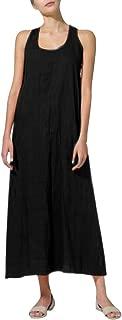 Yucode Women Cotton Linen Solid O-Neck Sleeveless Long Cami Maxi Dresses Casual Summer Dresses