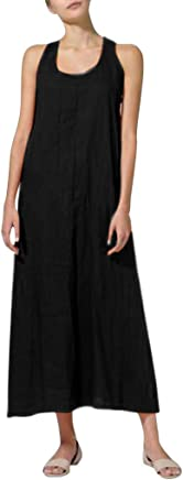 Womens Summer Dresses Plus Size Solid Round Neck Sleeveless Cotton Linen Loose Casual Maxi Flare Long Dress
