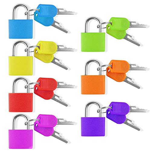 7 Pieces Small Padlock, Multicolor Coated Brass Suitcase Lock with Key for Luggage Lock, Backpack Lock, Gym Locker Lock, Filing Cabinets Toolbox
