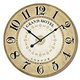 Alice's Collection – Reloj de Pared Redondo Grande de Madera Vintage Época MDF – Reloj Estilo Shabby Chic Válido para Salón Comedor Cocina y Dormitorio | Diámetro 60cm (NO9)